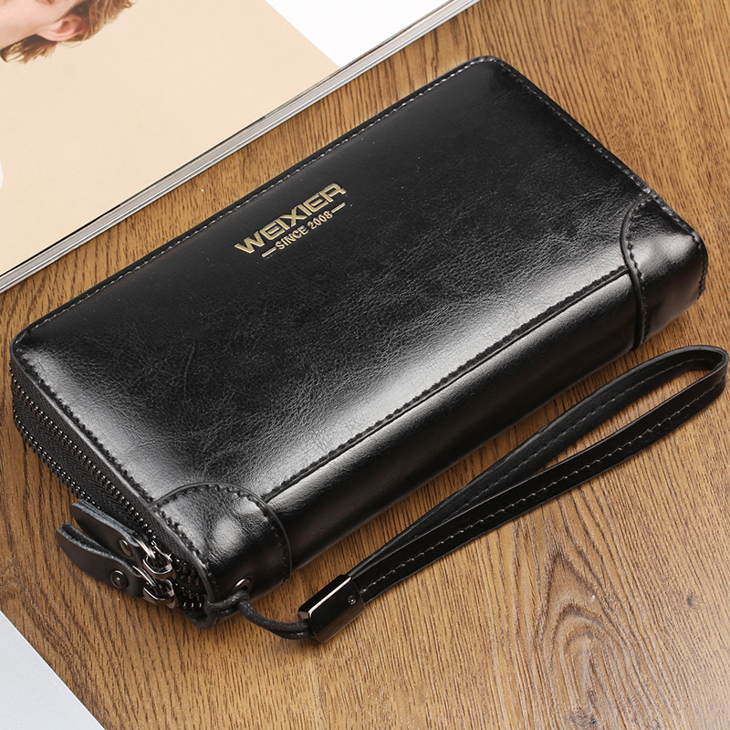 Business Long Men's Leather Wallet Double Zipper PU Leather Male Wallets Purse For Men Black Clutch Male Wallet Card Holder