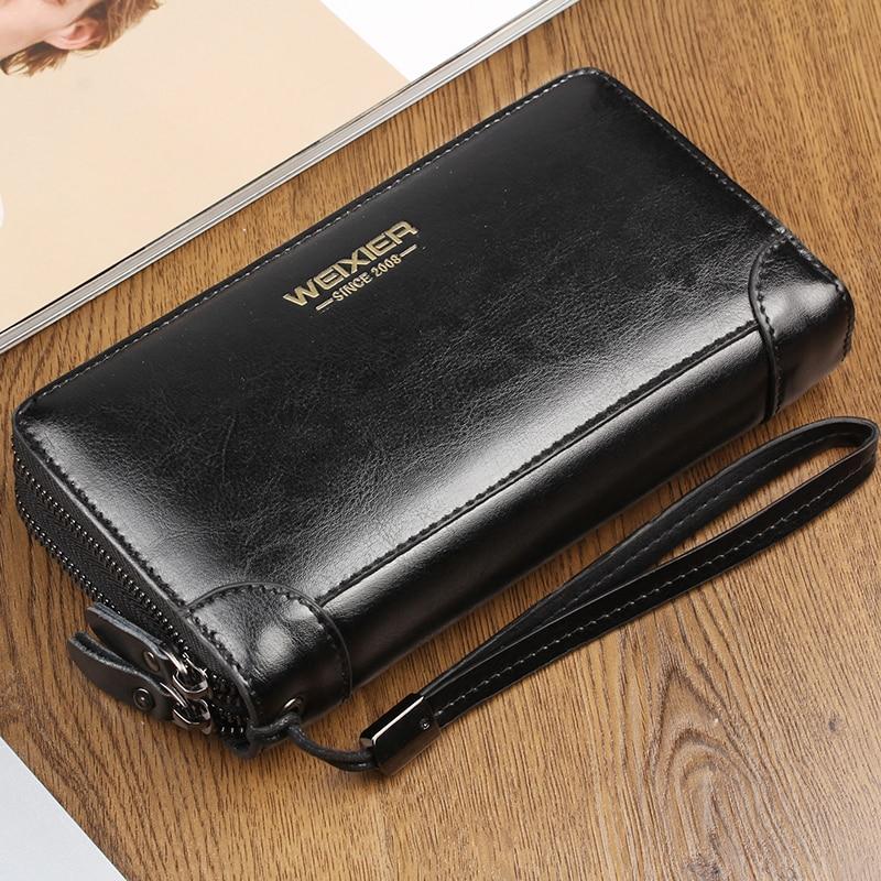 Business Long Men's Leather Wallet Double Zipper PU Leather Male Wallets Purse For Men Black Clutch Male Wallet Card Holder