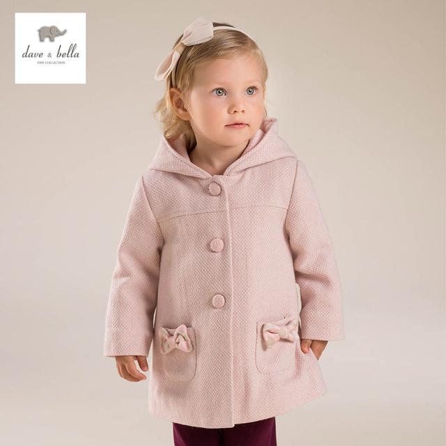 DB4185 dave bella  baby girl pink wool blends hooded outerwear