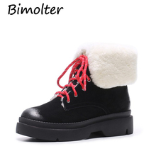 Bimolter 2018 Women Ankle Boots Shoes Woman Pig Suede Genuine Leather Lace Up Shoes Synthetic Plush Lace Up Riding Boots NA008