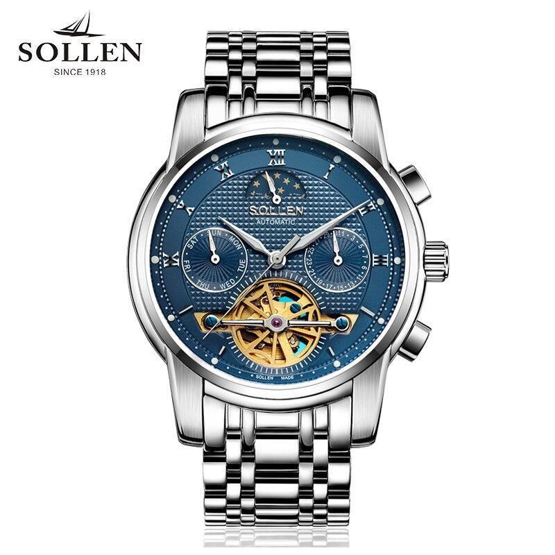 лучшая цена 2018 Solon automatic tourbillon mechanical watch hollow watch men's waterproof luminous multi-function male watch