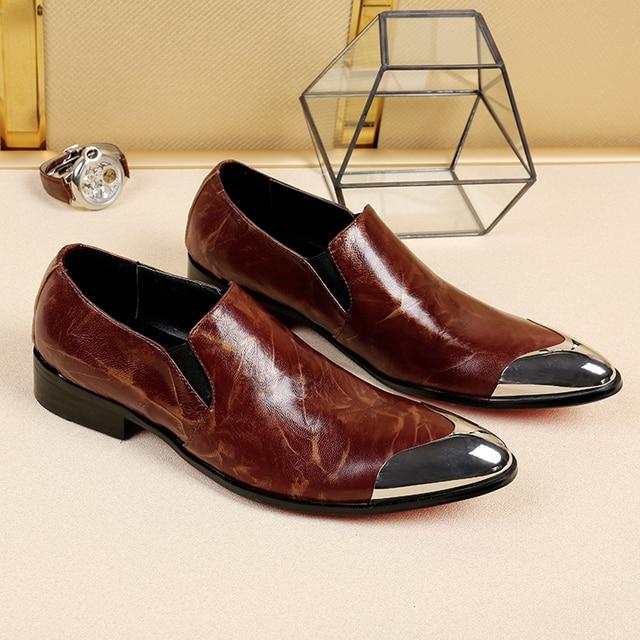 29c9905c9f9 GRIMENTIN Fashion Italian designer formal mens dress shoes genuine leather  black luxury wedding male shoes office