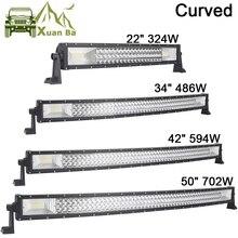 """22 """"34"""" 42 """"50 pouces Tri rangée barre de lumière à LED incurvée pour SUV ATV Uaz UTV 4x4 12V bateau camion tout terrain Combo poutres Barra lampes de travail"""
