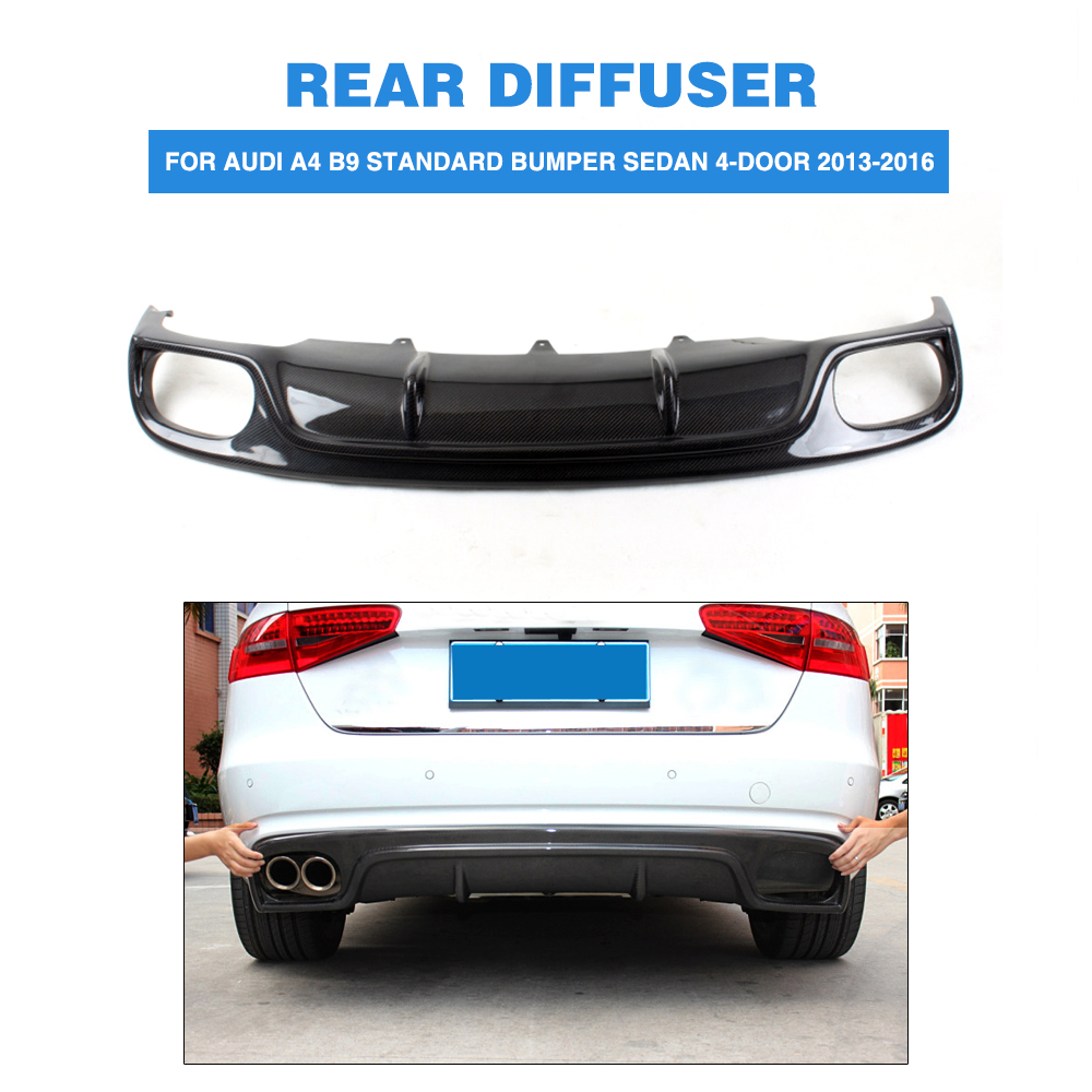 Carbon fiber rear bumper diffuser lip for audi a4 b9 standard bumper non sline non s4