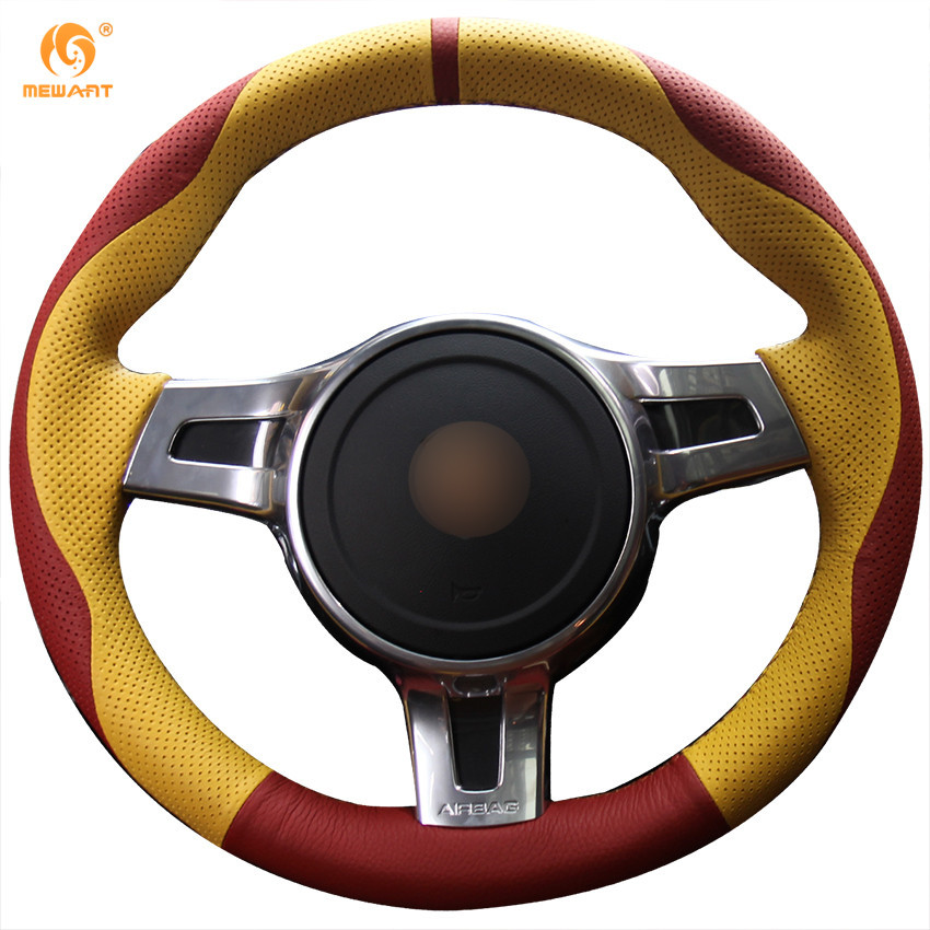 Mewant Red Yellow Genuine Leather Car Steering Wheel Cover