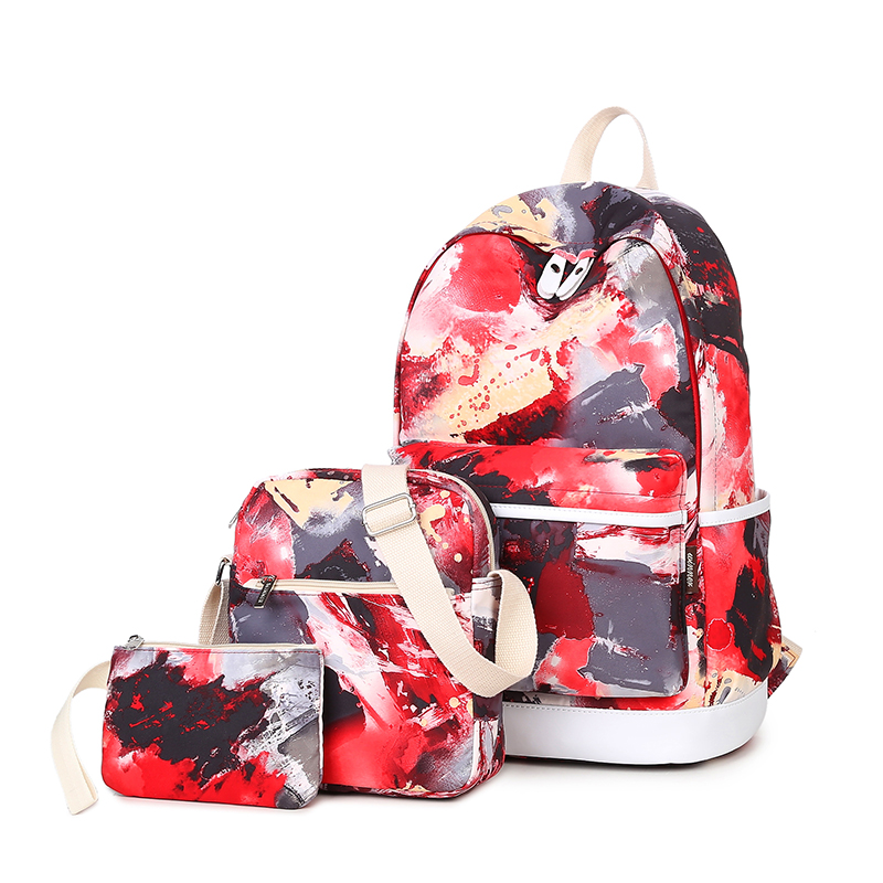 3pcs Red Volcano Backpack Bag For Teenager Girls Women Student Travel Laptop Bag Mochil Back Pack Portfolio Knapsack Rucksack