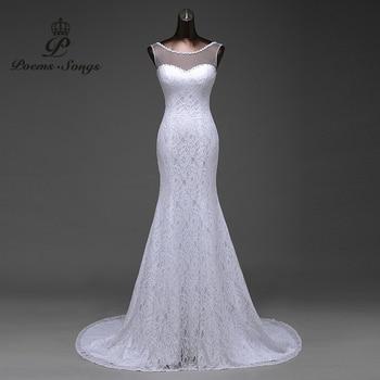 03af0b6739d Бесплатная доставка прозрачный пряжи с красивыми кружевными цветами Русалка  торжественные Платья Vestidos De Noiva свадебное платье