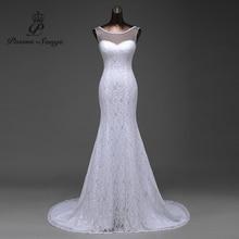 Free shipping transparent yarn beautiful lace flowers mermaid wedding dresses 2020 vestidos de noiva robe de