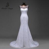 Real Photo Sexy See Through Applique Ivory White Satin Mermaid Wedding Dresses Vestido De Noiva