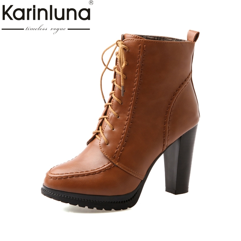 Karinluna 2017 Spring And Autumn Sewing Mature Lace-Up Ankle Boots With Fur Super High Square Heel Women Shoes Big Size 33-43 euro style spring autumn women ankle boots platforms square heel ankle boots lace up fashion motorcycle boots martin shoes