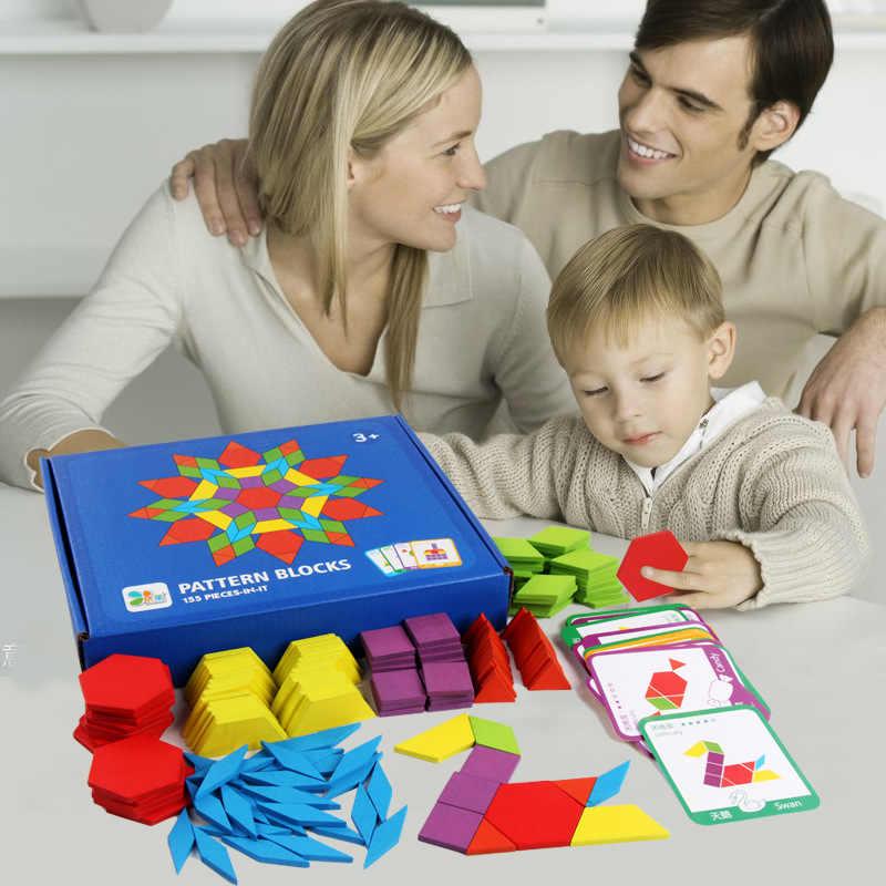 155 шт Деревянные Монтессори настольная игра-головоломка набор Красочные Детские Обучающие деревянные игрушки для детей Обучающие Развивающие игрушки подарок
