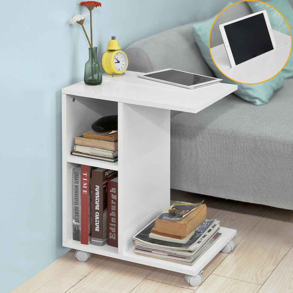 Modern Coffee Table With Storage Sobuy Fbt48 Modern Side Table End Table Coffee Table On Wheels With 2 Storage Shelves Living Room Furniture