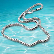 New Arrivals 4MM Square box chain 925 Sterling Silver Necklace for men Jewelry personality Men Link Chain Necklace