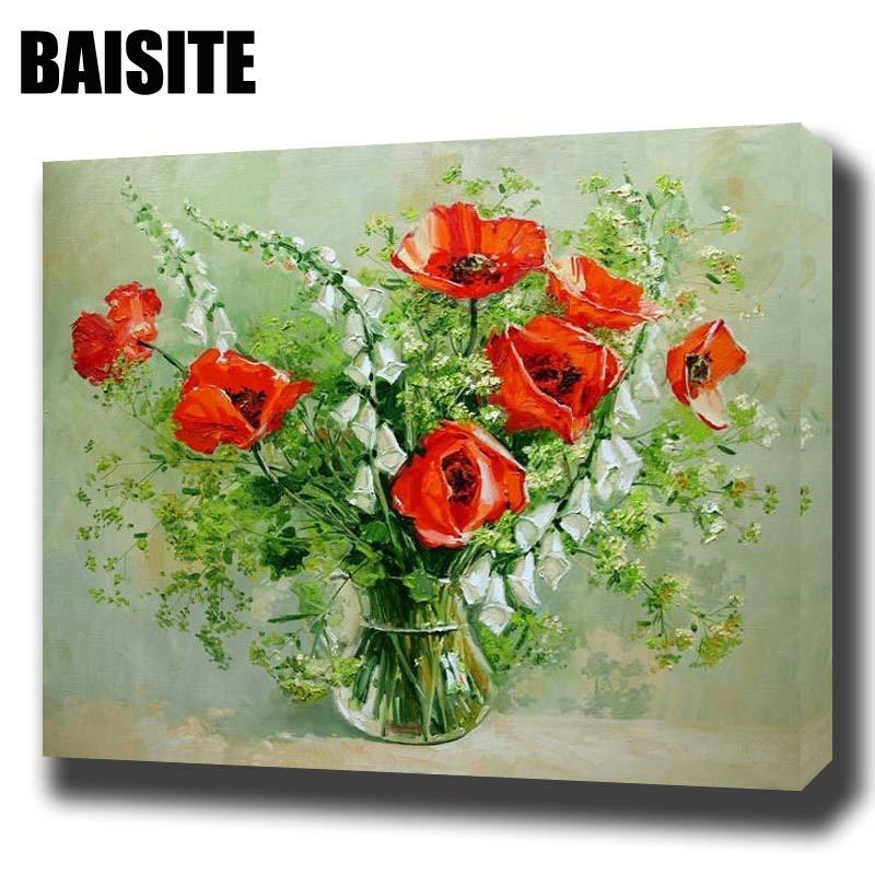 ④Baisite DIY pintura al óleo enmarcada por números flores cuadros ...