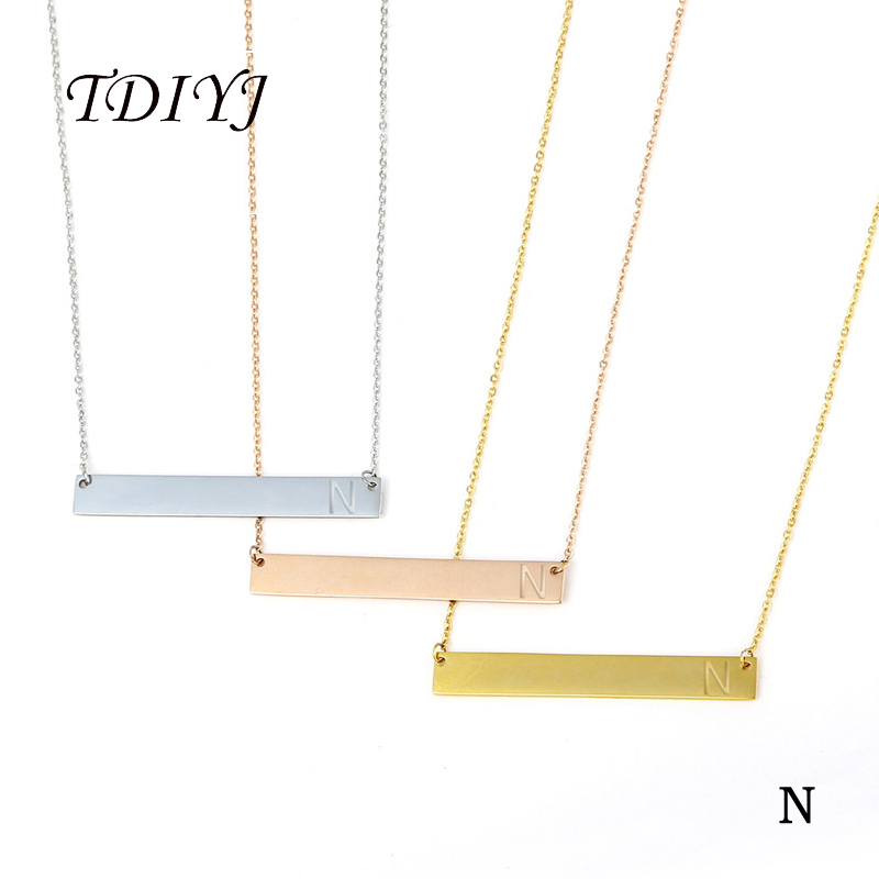Stainless Steel Letter Initial Monogram Yellow Horizontal Bar Necklace