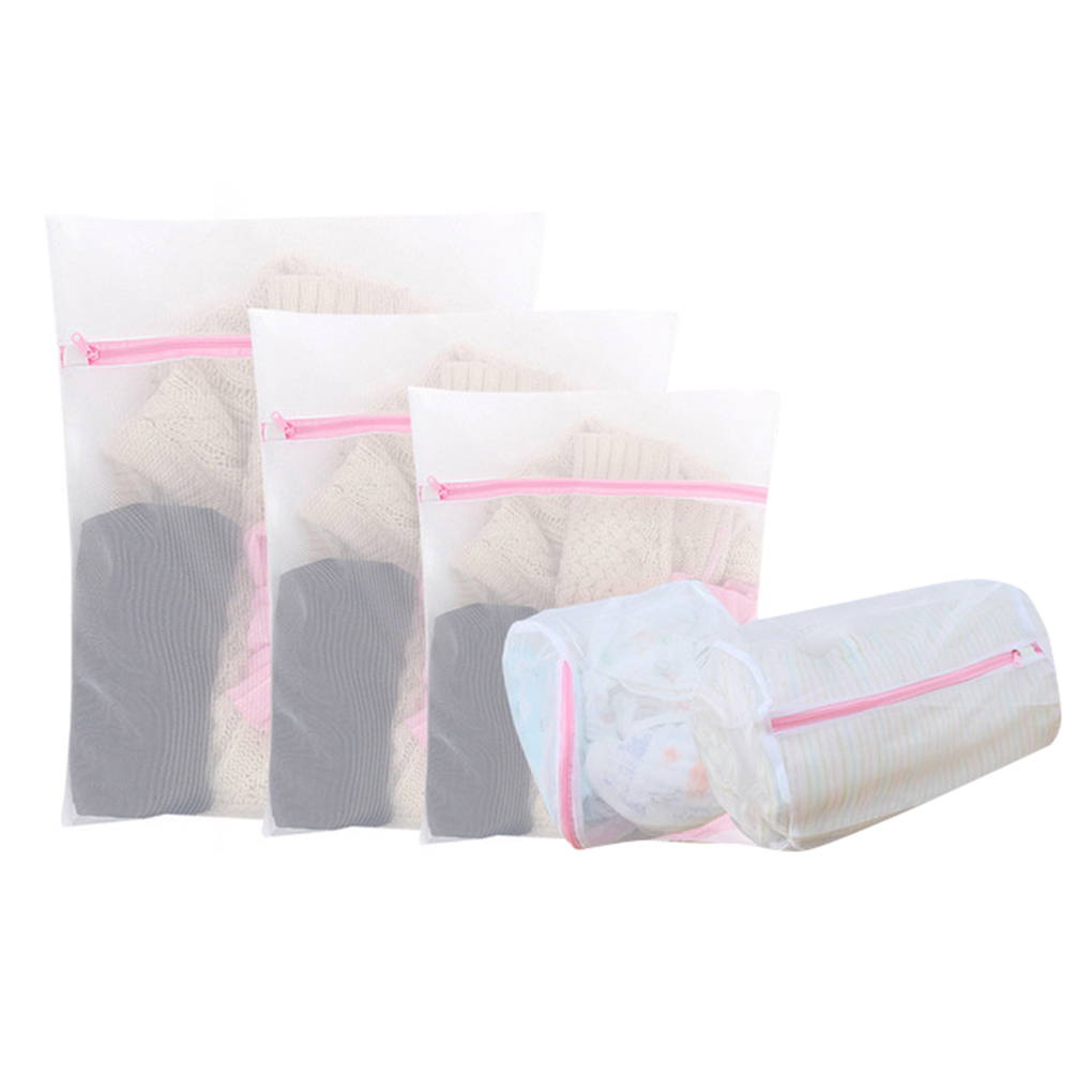 5pcs Laundry Bag Set Mesh Wash Bag Set For Delicate With Zipper Washing Machine Bag For Bra Lingerie