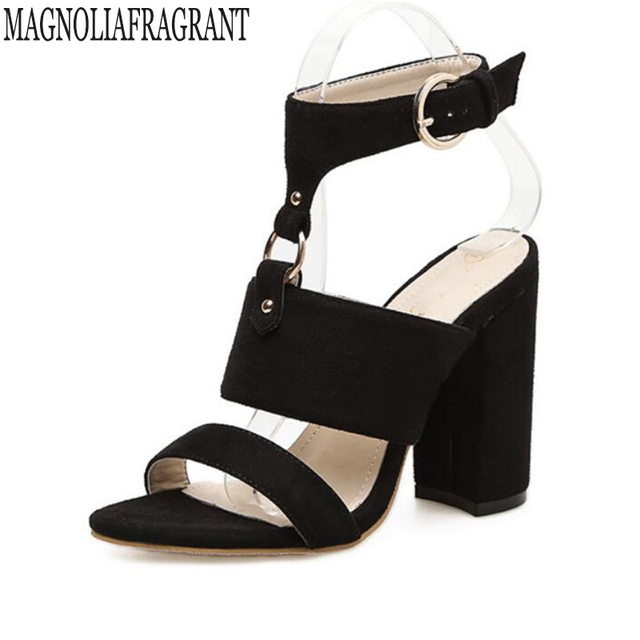 e34a3d98dd0e New Summer Peep Toe Ankle Strap High Heel Sandals platform shoes Lady Women  Shoes Pumps Suede rough with sandalia feminina k697