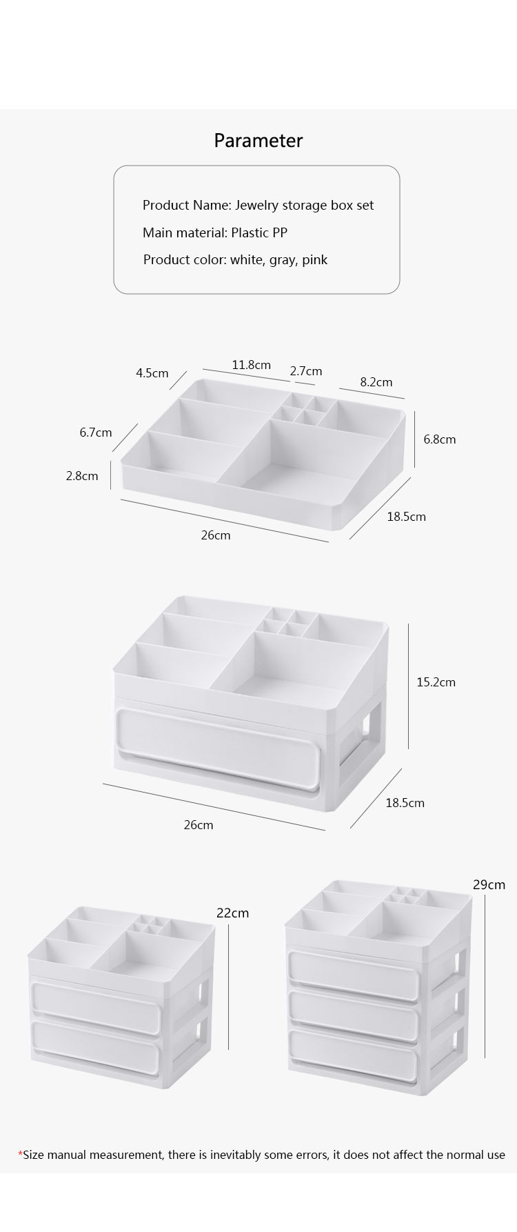 HTB1 i0HaizxK1RjSspjq6AS.pXaO - Plastic Makeup Drawers Storage Box Jewelry Container Make up Organizer