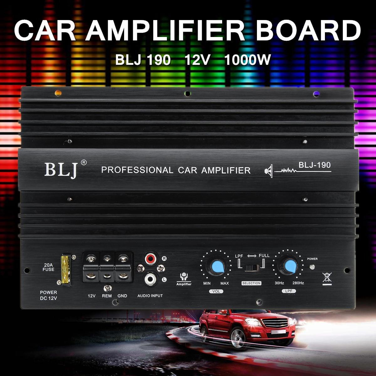 12 V 1000 W Mono amplificador de alta potencia de Audio del coche amplificador potente Subwoofer 105dBA sobrecarga térmica proteger potente bajo