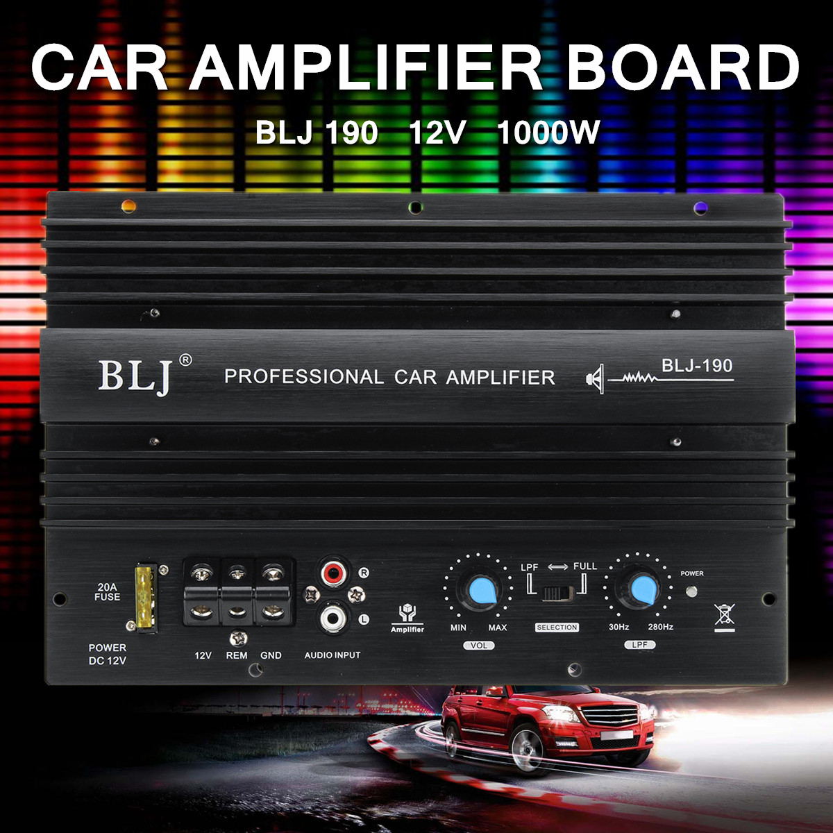 12V 1000W Mono Car Audio High Power Amplifier Amp Board Powerful Bass Subwoofer 105dBA Thermal Overload Protect Powerful Bass kroak 12v 600w car amplifier board powerful subwoofer car audio amplifier mono stereo power amplifier bass black