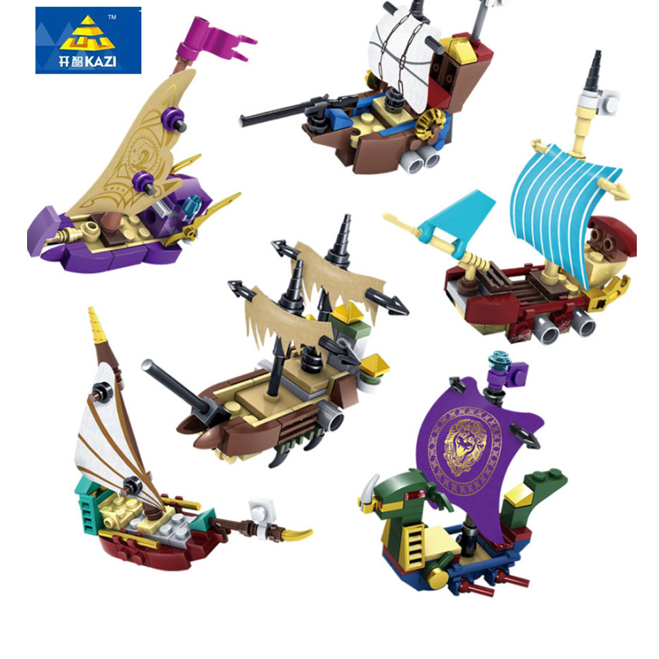 Kazi 6pcs/lot Pirates Of The Caribbean Brick Bounty Pirate Ship Boat Building Blocks Enlighten Compatible Legoe Gifts for kids lepin compatible 16009 1151pcs pirates of the caribbean queen anne s reveage model building kit blocks brick toys for kids 4195