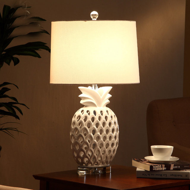 White Pineapple Modern Ceramic Led Table Lamps For Bedroom Living Room  Bedside Crystal Base Desk Lamp Part 10