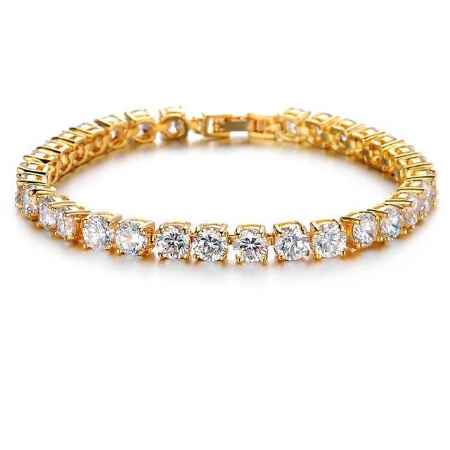2016 люкс сверкающих кубический цирконий ювелирные изделия 24 карат золотое покрытие браслеты женские украшения горячая распродажа подарок на день рождения бесплатная доставка