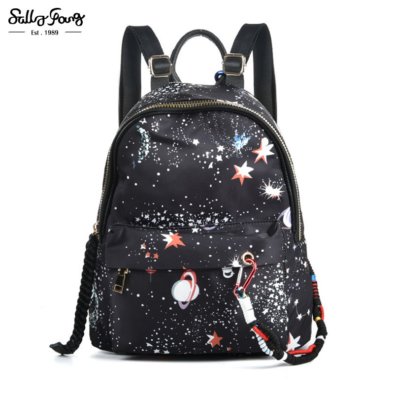 2017 Internationa Brand New Preppy Style Galaxy School Backpack Genuine Leather&Oxford Stronger Knapsack