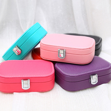 6 color Europe Newest Popular Small Faux Leather Travel Jewelry Storage Box Wedding Earring Ring Holder 15*10*5cm