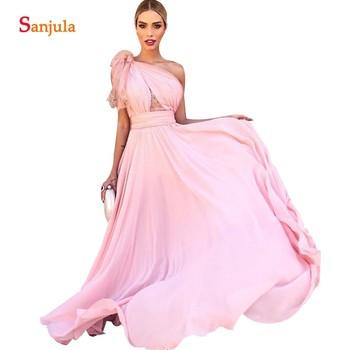 One Shoulder Pink Bridesmaid Dresses For Women Long Chiffon Wedding Guest Dress vestidos para boda mujer BY26