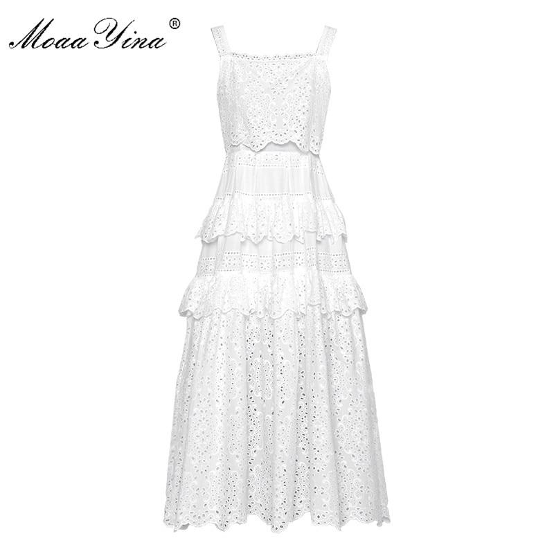 MoaaYina Fashion Designer Runway dress Lente Zomer Vrouwen Jurk Spaghetti Hollow Out Borduren Ruches Witte Jurken-in Jurken van Dames Kleding op  Groep 1