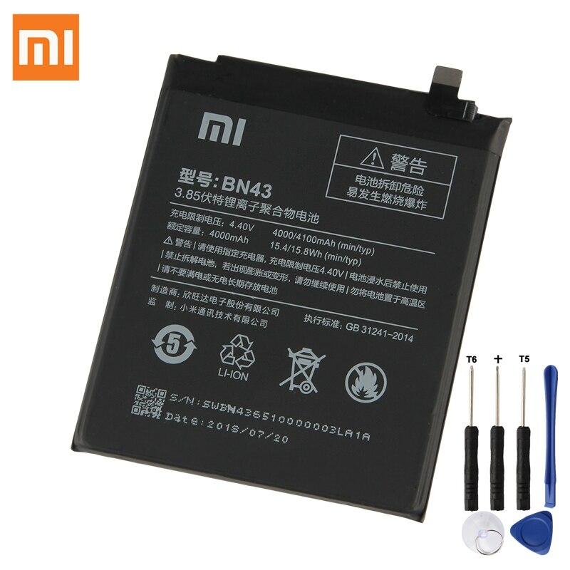 Batterie De Rechange d'origine Pour Xiaomi Redmi Note4X Hongmi Note 4X Standard Version Redrice BN43 Véritable Téléphone Batterie 4100 mah