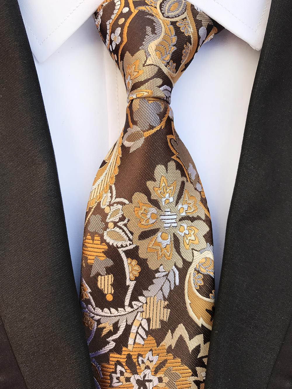 New Arrival Fashion Floral Brown Ties Jacquard Woven Ties 100% Silk Necktie Ties for Mens Business Wedding Party Gravatas Ties