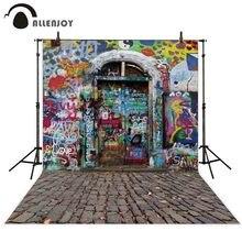 Allenjoy Nhiếp Ảnh Backdrop In Hình Đá Ghép Cửa Sơ Sinh Hình Phòng Thu Photocall Nền Thiết Kế Ban Đầu