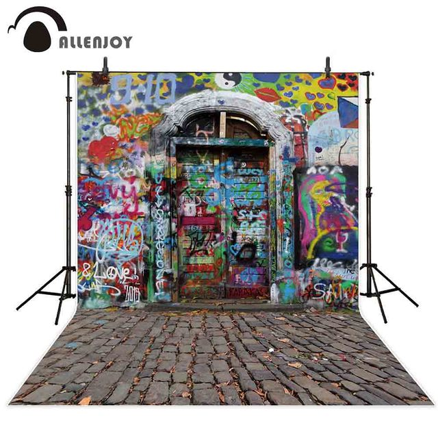 Allenjoy photography backdrop Printed rock Graffiti door newborn photo studio photocall background original design
