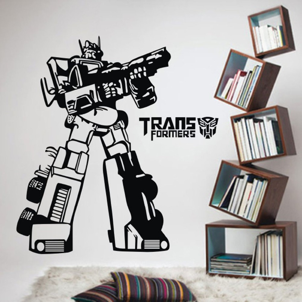 57x95cm Removable New Robot Transformers Vinyls Wall Decals Fans Cartoon  Vinyl Wall Mural Stickersr for kids