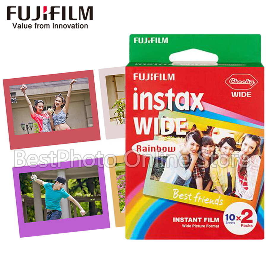 20 Sheets Fujifilm Fuji Instax Wide Film Films Rainbow For Fuji Instant Camera 300/200/210/100/500AF polaroid Photo paper