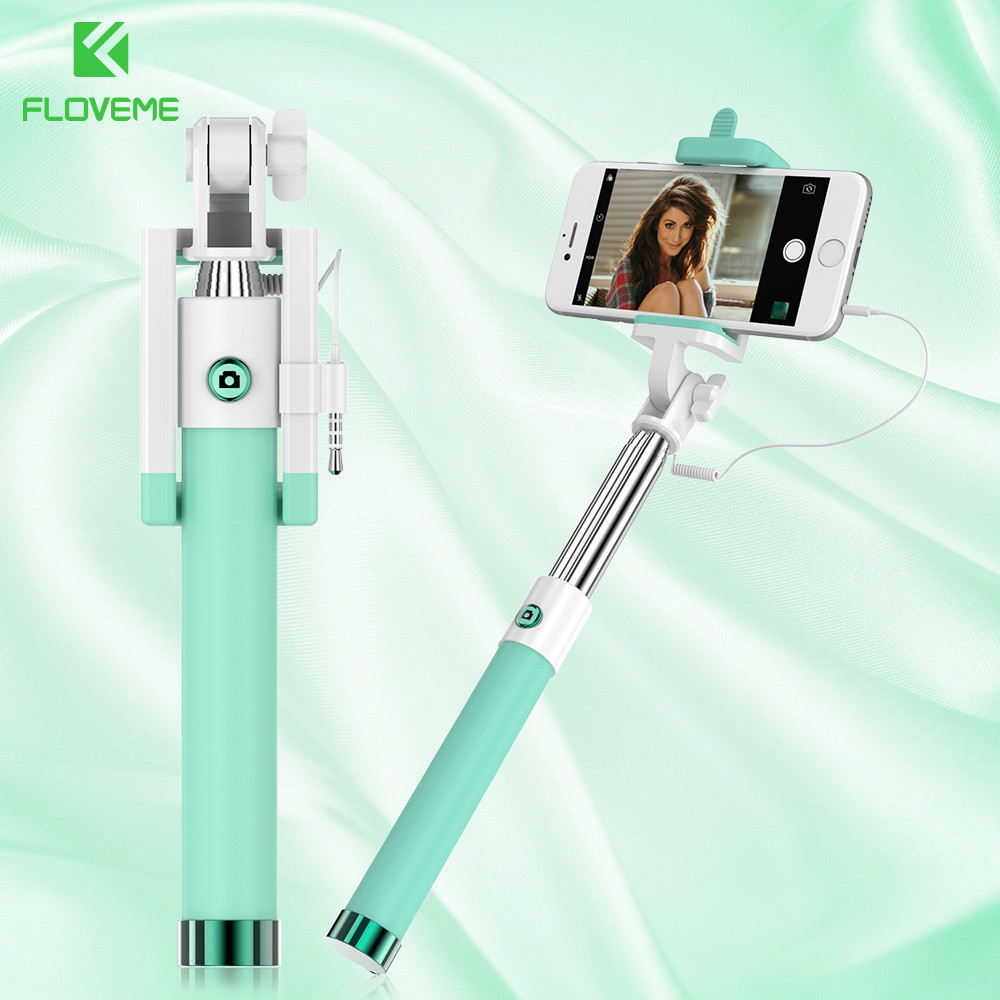 FLOVEME Universal Selfie Stick For Samsung Galaxy S8 Xiaomi Huawei Meizu Etc Wired Selfie Stick For iPhone 6 7 Adjustable Selfie caseier wireless bluetooth selfie stick for iphone x xs 8 7 6 mini handheld selfie stick universal for samsung xiaomi huawei