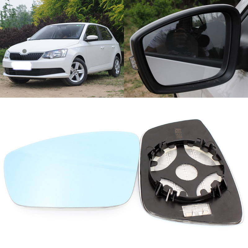 For Skoda Fabia 2008 2017 Side View Door Mirror Blue Glass With Base Heated 1 Pair