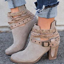 europe women boots high-heel martin boots Ankle buckle rivet short boots autumn winter fashion shoes woman sexy plus size 35-43 цена