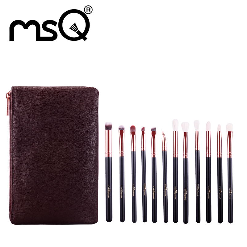 Hot 2017 Fashion MSQ Brand Makeup Brushes 12pcs Sets Kits Goat Hair Synthetic Hair Material Wood Handle With PU Leather Case