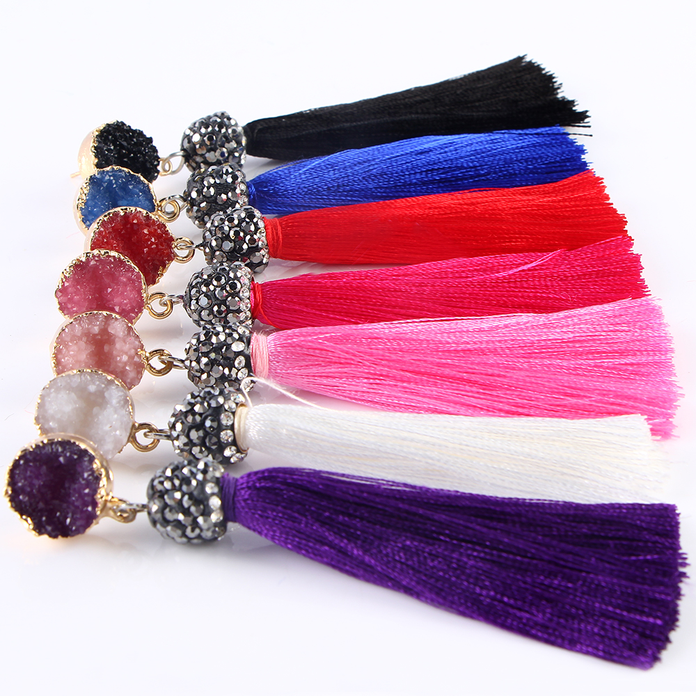 Fashion Tassel Earrings For Women Vintage Crystal Flower Long Earrings Bohemian Korean Big Earrings Pendientes Jewelry Gift