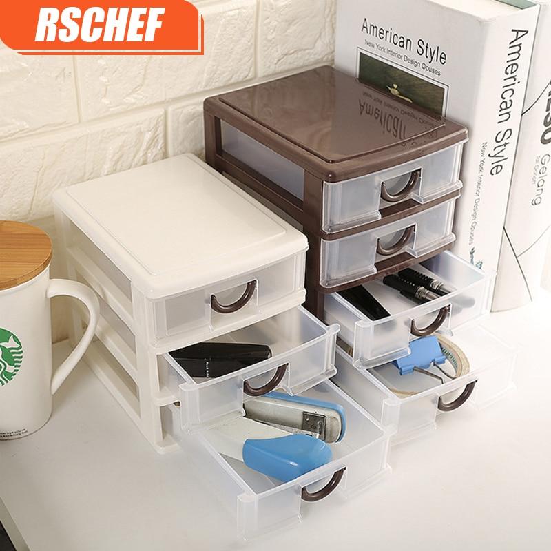 RSCHEF Household Storage Box Plastic Cosmetics Separated Cabinet Box Bedroom Jewelry Finishing Racks
