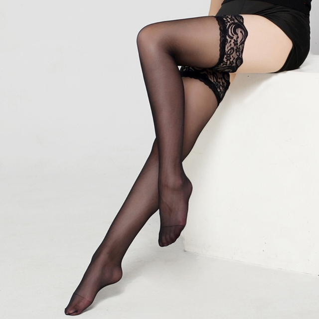 2de2d1e4873 New 2018 Women s sexy Floral Pattern Lace Top Thigh High Stockings Silk  Sheer Pantyhose
