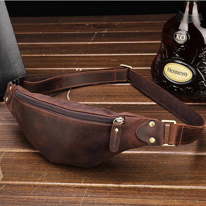 BISI GORO 2020 Genuine Leather Waist Packs Bag Fashion Men Waist Packs Belt Bag Phone Pouch Travel Waist Pack Male Small Wallet