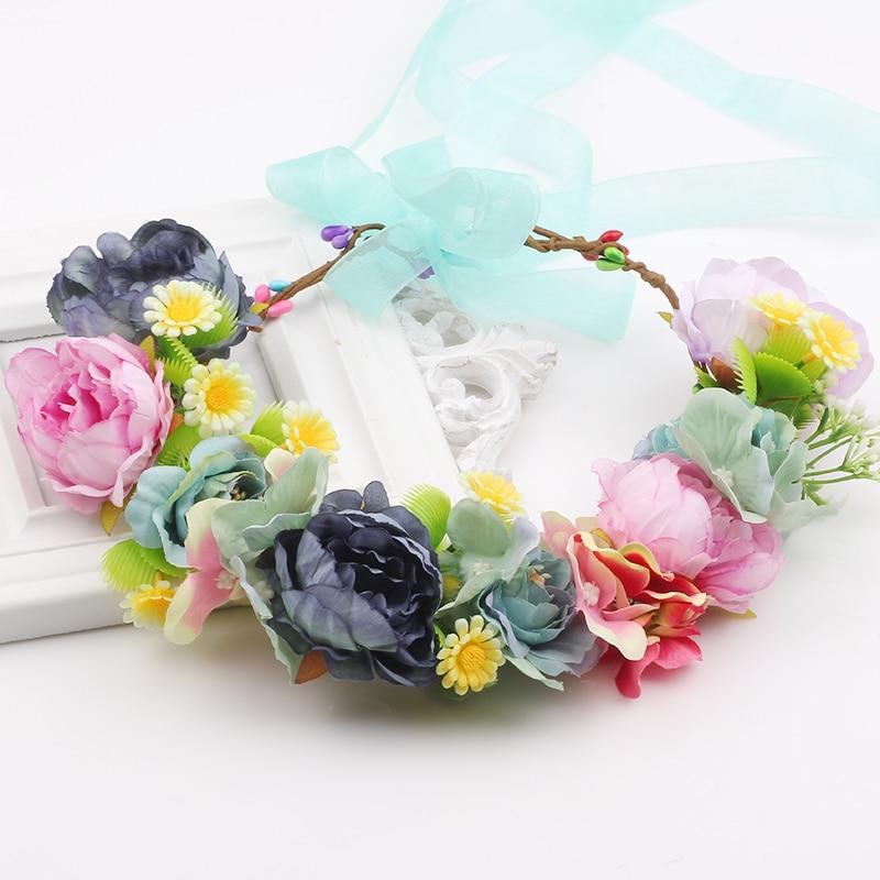 Aliexpress.com   Buy Stunning Handband woman girls Artificial cream flower  crown wedding fabric floral wreath hair turquoise flower headband from  Reliable ... df7aaf14fbc
