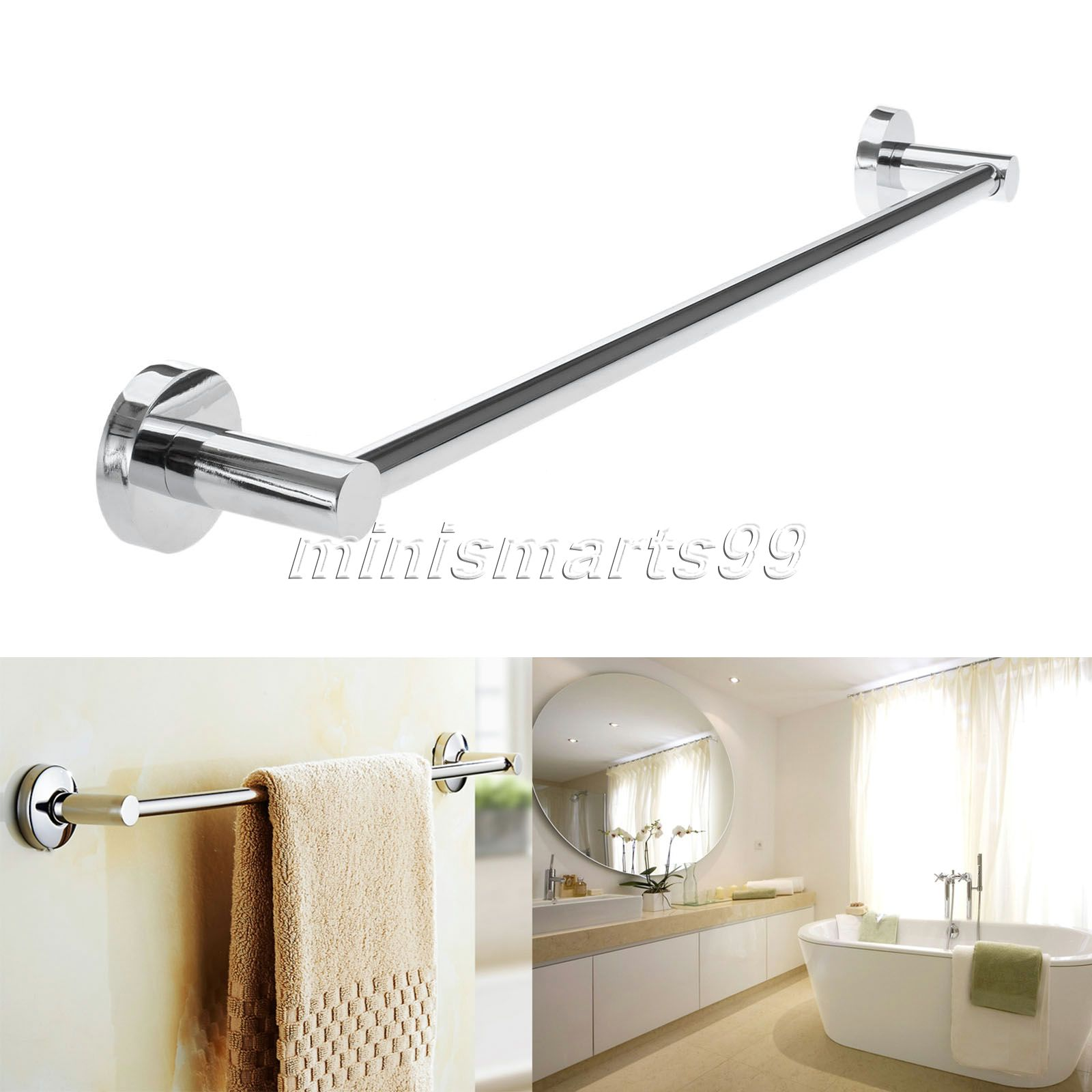 Bathroom wall towel racks - 60cm Steel Towel Rack Holder Wall Mounted Bathroom Towel Holders Single Pole Towel Bars Bath