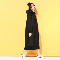 new fall 2016plus size women's solid color long sleeved Casual Hooded quilted Wei dress wholesale