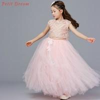Petit Dream Blush Pink Girls Kids Wedding Party Dresses with Headband Feather Lace Long Flower Performance Girls Tutu Dress