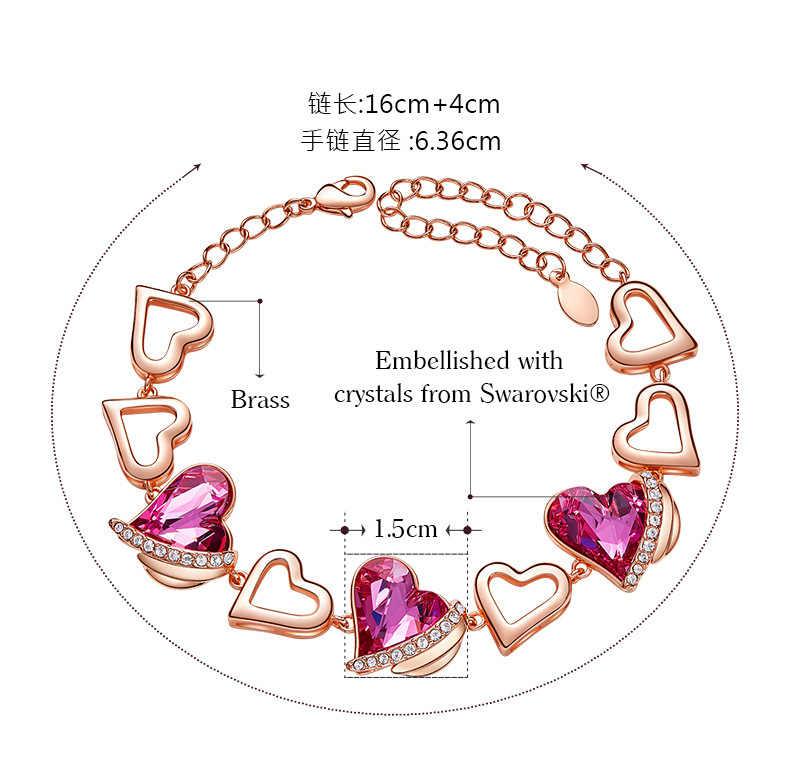 Новый список розовый любовь браслет с ангелами дамы использовать Swarovski элементы кристалл ручной ювелирные изделия